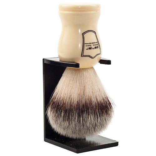 White Handle Vegan Shaving Brush and Stand