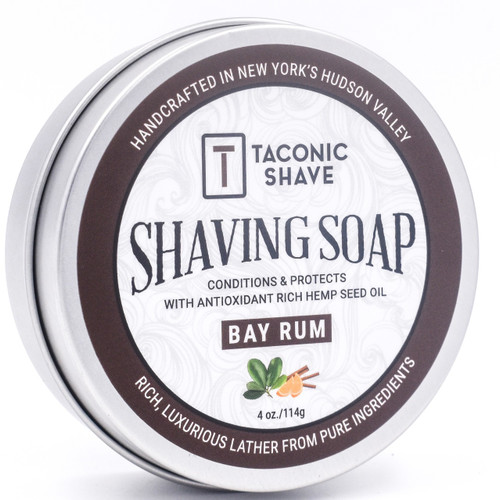 Taconic Shave Barbershop Quality Bay Rum Shaving Soap with Antioxidant-Rich Hemp Seed Oil - New labels - same great product!