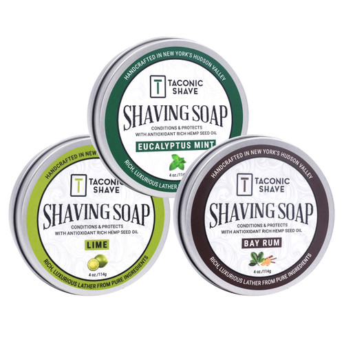 Taconic Shave Barbershop Quality 3 Shaving Soap Variety Pack - with Antioxidant-Rich Hemp Seed Oil - Made in New York's Hudson Valley - New Labels, same great product
