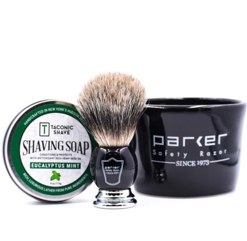 Parker & Taconic Shave Black Mug, Shave Brush & Shave Soap Set