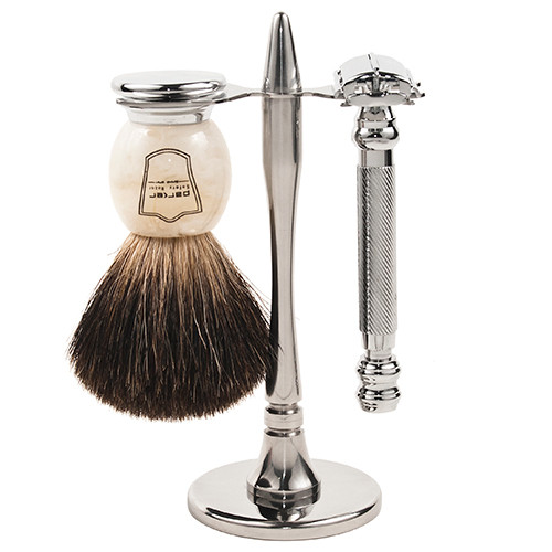 Parker 99R Heavyweight Butterfly Razor & Deluxe Black Badger 3-Piece Shave Set
