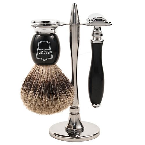 Black Resin Razor 3-Piece Shave Set - Includes Pure Badger Brush, Stand & Parker 111B Safety Razor