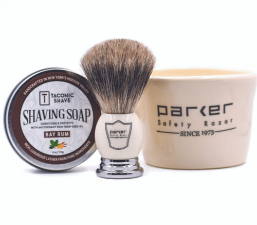 Parker & Taconic Shave White Mug, Shave Brush & Shave Soap Set