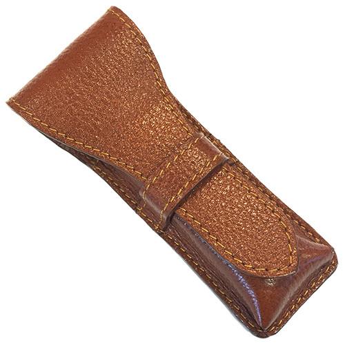 Parker Leather Saddle Brown Double Edge Safety Razor Travel Case