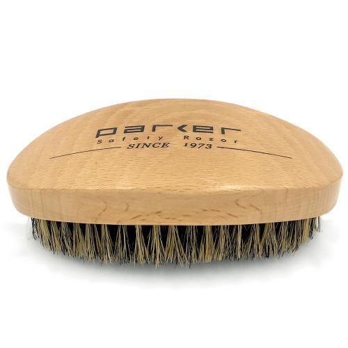 Parker Premium Boar Bristle Beard & Hair Brush with Beechwood Contoured Handle