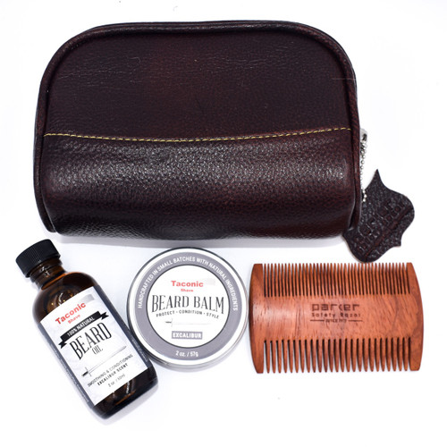 Deluxe Beard Care Gift Set w/ Small Leather Dopp Bag