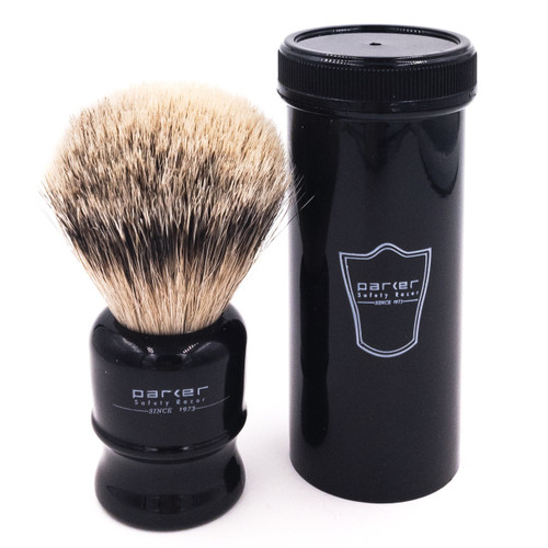 Parker Travel Silvertip Badger Black Shave Brush with Case