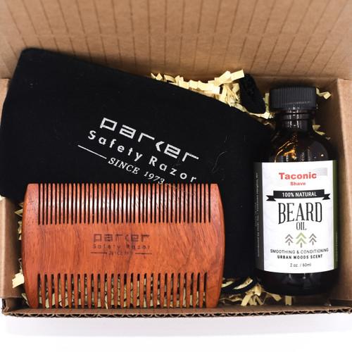 Beard Care Gift Set w/ Taconic Beard Oil & Parker Rosewood Beard Comb
