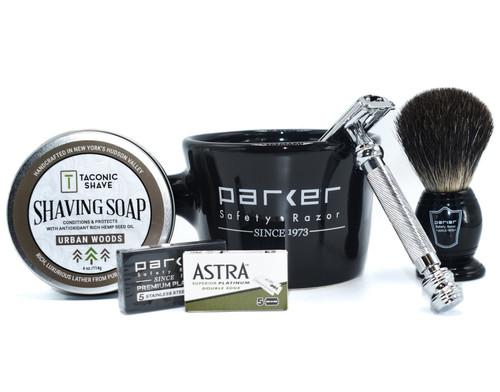Parker & Taconic 99R Starter Kit w/ Safety Razor, Mug, Shave Brush & Shave Soap