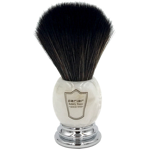 Parker Marbled Ivory Handle Black Synthetic Shaving Brush and Stand