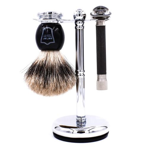 Deluxe Parker Variant Adjustable Safety Razor & Pure Badger 3-Piece Shave Set