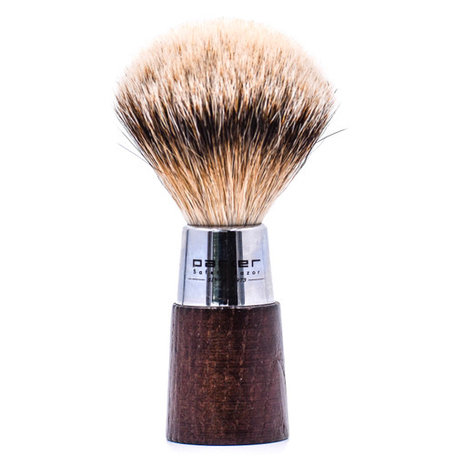 Parker Walnut & Chrome Handle Silvertip Badger Shave Brush & Stand