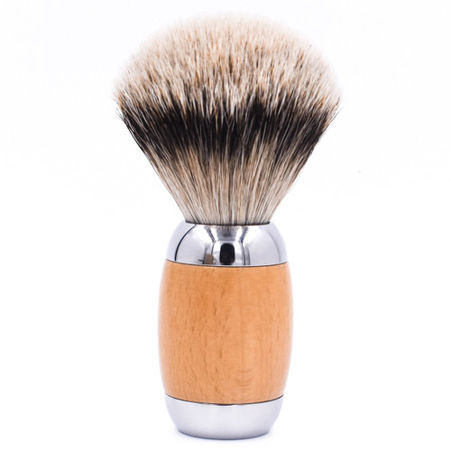 Taconic Shave Wood & Chrome Handle Silvertip Badger Shave Brush & Stand