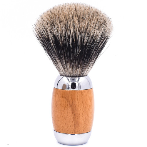 Taconic Shave Wood & Chrome Handle Deluxe Pure Badger Shave Brush & Stand