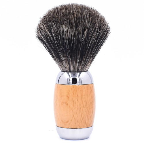 Taconic Shave Wood & Chrome Handle Mixed Badger Shave Brush & Stand