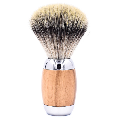 Taconic Shave Wood & Chrome Handle Synthetic Shave Brush & Stand