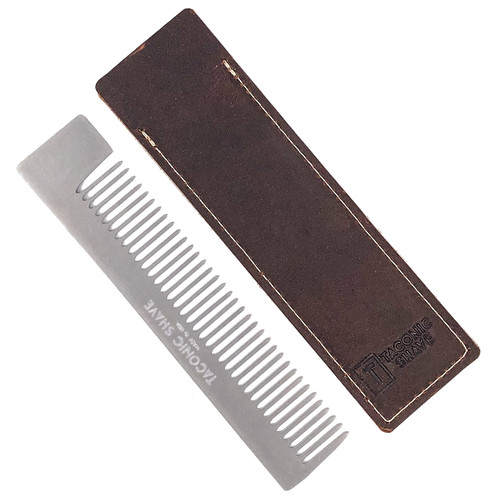 Taconic Shave Premium Stainless Steel  Pocket Comb and Leather Case Made in USA