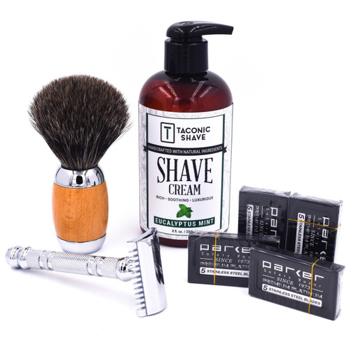 Parker & Taconic 24C Starter Kit w/ Safety Razor, Shave Brush, Shave Cream & Blades