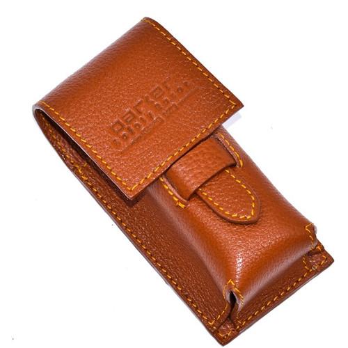 Parker Leather Shaving Brush Case - Saddle Brown