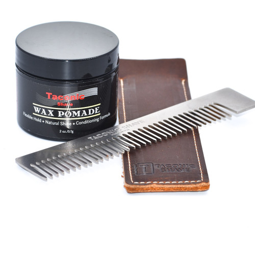 Gift Set w/ Premium Stainless Steel Comb, Leather Case & All Natural Hair Pomade