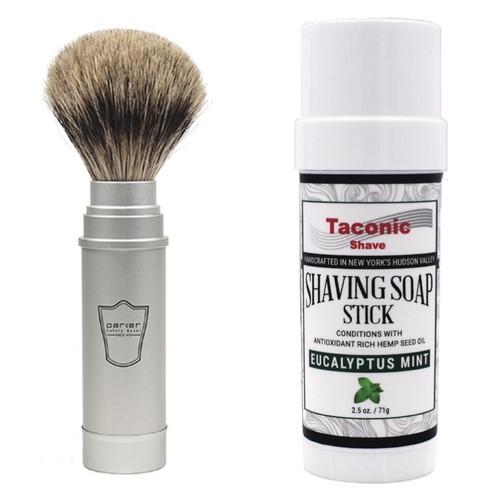 Taconic Eucalyptus Mint Shave Soap Stick & Parker Travel Brush Set