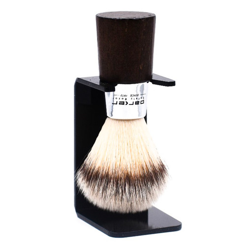 Parker Walnut & Chrome Handle Synthetic Shave Brush & Stand