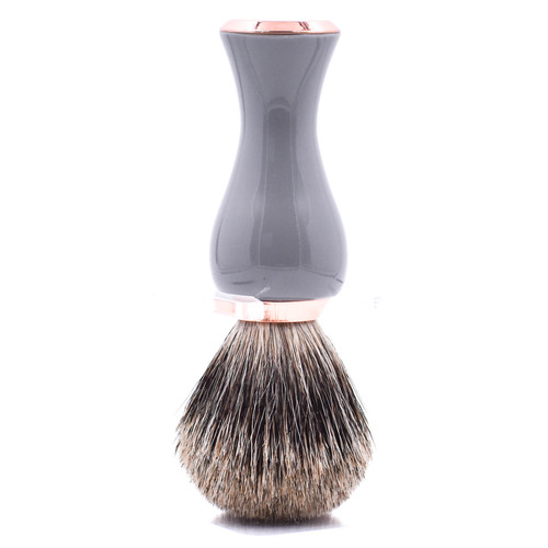 Parker Gray & Rose Gold Handle Pure Badger Shave Brush & Stand