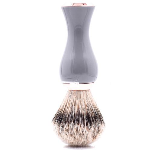 Parker Gray & Rose Gold Handle Silvertip Badger Shave Brush & Stand