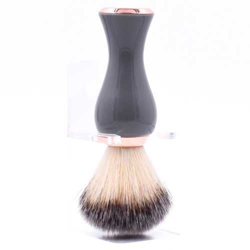 Parker Gray & Rose Gold Handle Synthetic Shave Brush & Stand