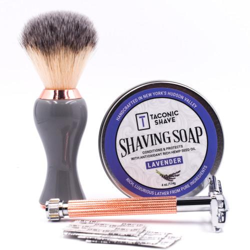 Parker & Taconic 29L-RG Women's Shave Set w/ Safety Razor, Shave Brush, Soap & Blades