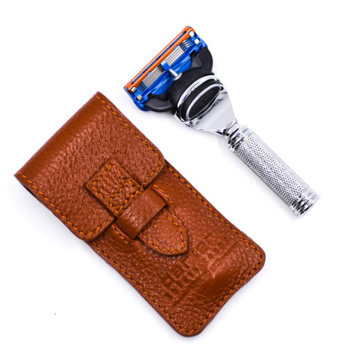 Parker Fusion Compatible Travel Razor with Leather Case