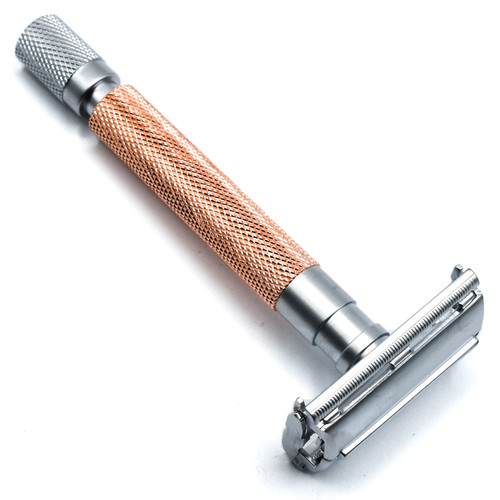 Parker 74R Rose Gold & Satin Chrome Heavyweight Butterfly Open Safety Razor