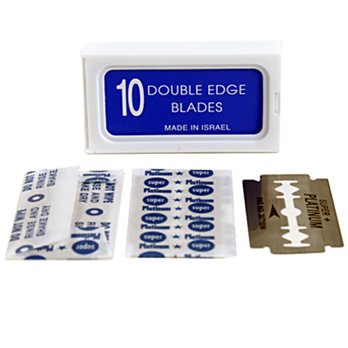 """120 Crystal """"SUPER +"""" Stainless Steel Platinum Coated Double Edge Safety Razor Blades A.K.A Israeli Personnas"""