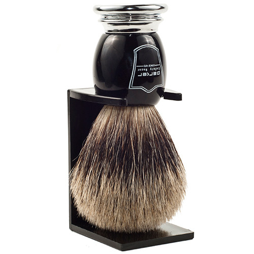 Parker Safety Razor 100% Pure Badger Bristle Shaving Brush with Black Deluxe Handle & Free Stand