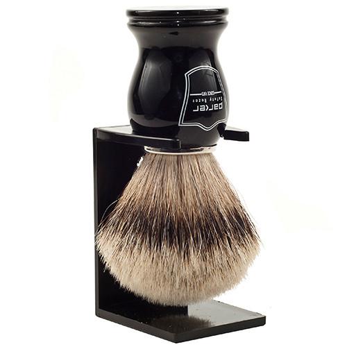 Parker Safety Razor 100% Silvertip Badger Bristle Shaving Brush (Black Handle) & Free Shaving Brush Stand