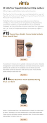"""Taconic Shave and Parker Safety Razor's synthetic brushes are featured on Toast Fried in the article """"18 Gifts Your Vegan Friends Can't Help but Love."""""""