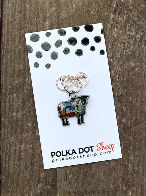 Polka Dot Sheep Stitch Marker set