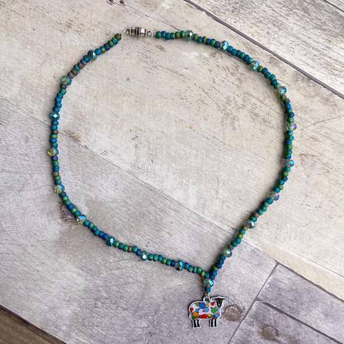 Polka Dot Sheep Charm Choker Necklace