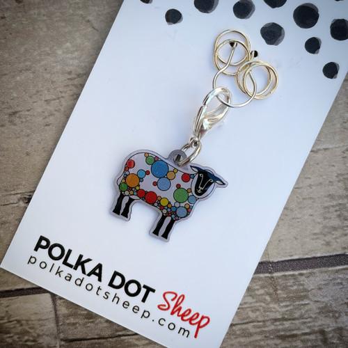 Polka Dot Sheep Locking Stitch Marker set