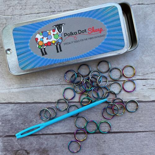 Iridescent Stitch Marker Tin