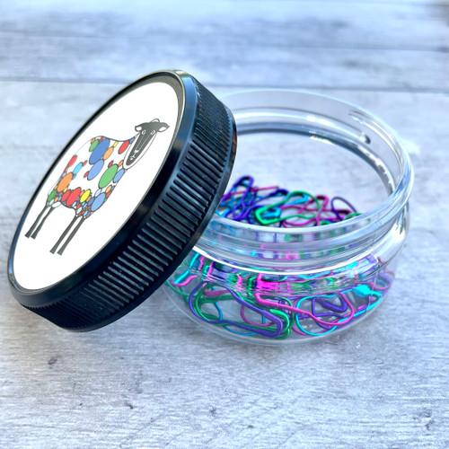Color Locking Stitch Marker Jar