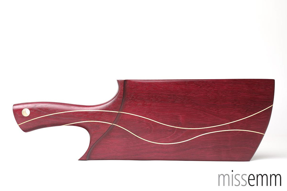 Purpleheart BDSM spanking paddle with Huon Pine lines