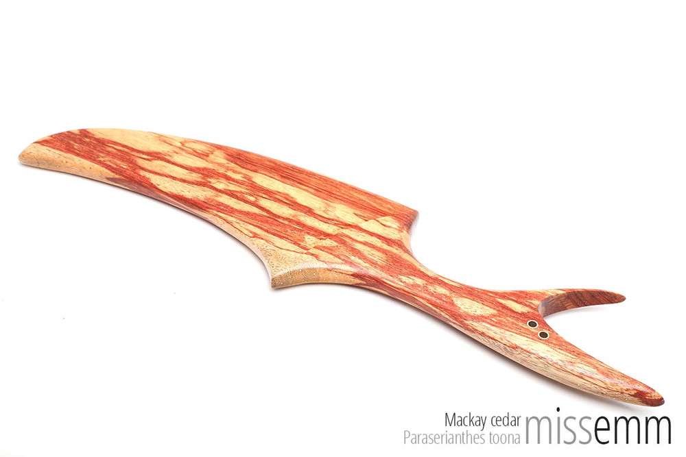 Handcrafted bdsm toys | Wood spanking paddle | By kink woodworker Miss Emm | Made from Mackay cedar with brass details, this unique spanking paddle will take pride of place in your toy collection.