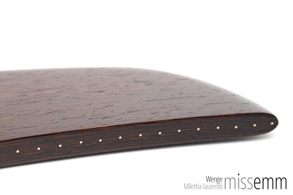 Unique kink toys | Large wood spanking paddle | by kink artisan toymaker Miss Emm | This machete styled spanking paddle is made from wenge with brass details. It is waiting to take pride of place in your kink toybox.