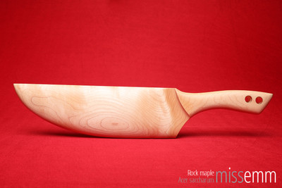 Unique handcrafted impact toys | wood spanking paddle | By fetish artisan Miss Emm | The paddle is made from rock maple with brass details. | Perfect for impact play, bdsm corporal punishment scenes, and all sorts of kinky fun in the hands of Mistresses, Masters, Dominas, Doms, Tops, and anyone who loves their impact play.