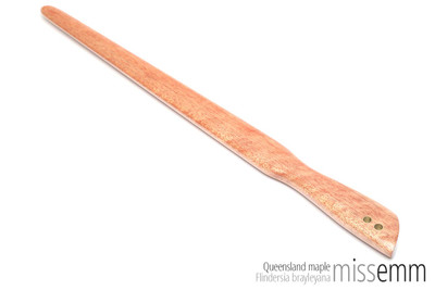Handmade bdsm toys | Wood spanking paddle | By fetish artisan Miss Emm | This light weight spanking paddle is made from Queensland maple with brass details. It's the perfect addition to your bdsm toy collection, whether you are a Domina, Dom, Mistress, Master, sub, slave, kinkster, fetishist or lover of fine wooden bdsm toys.