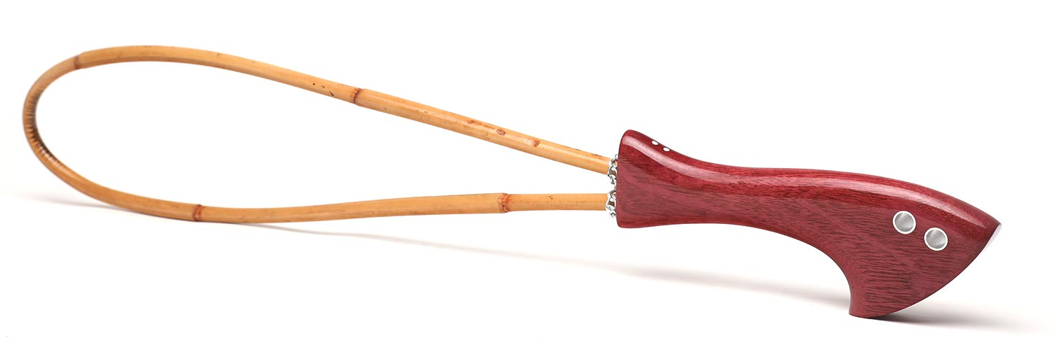 Handcrafted BDSM spanking cane | Rattan loop cane with purpleheart handle