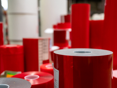 Stacks of red duraco film tape