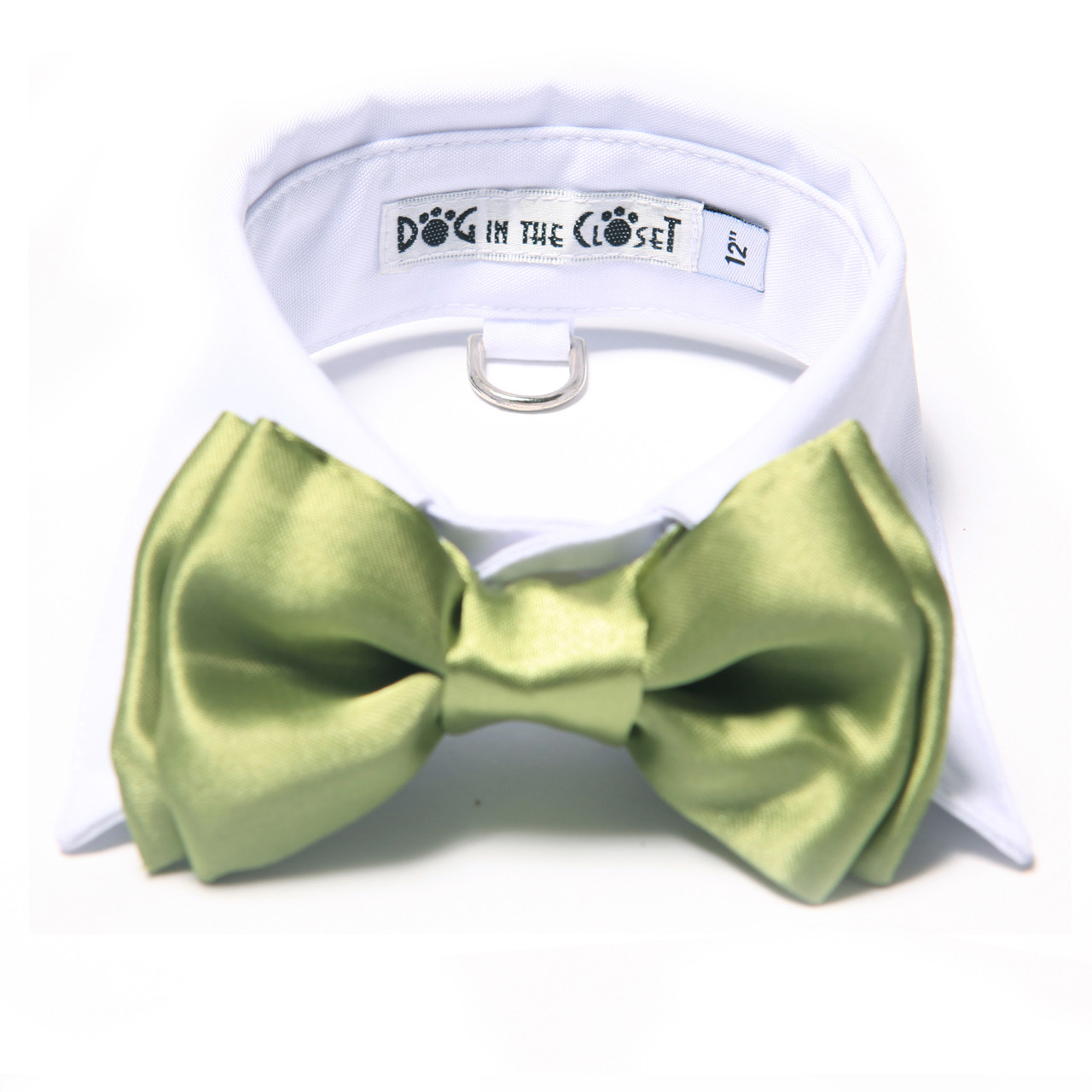 1fcb54e885f2 White Shirt Dog Collar with Apple Green Bow Tie
