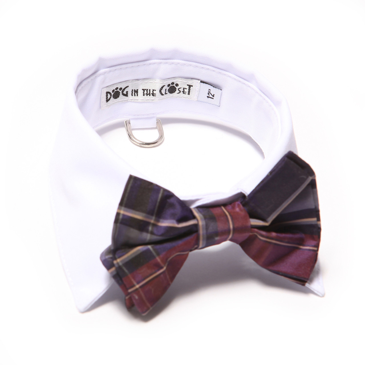 bd17dfe59918 White shirt collar with purple plaid silk bow tie. Add to Cart Buy